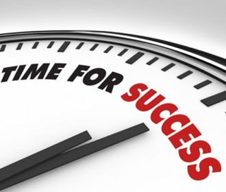 clock face with time for success printed on it