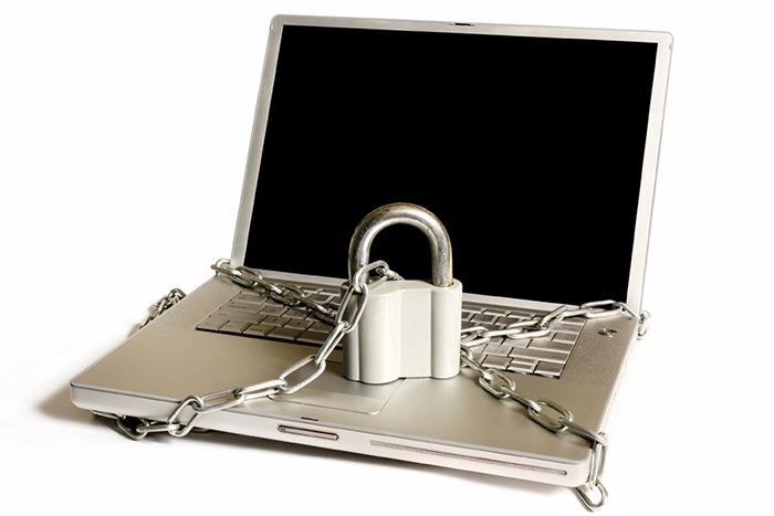 computer with lock and chain