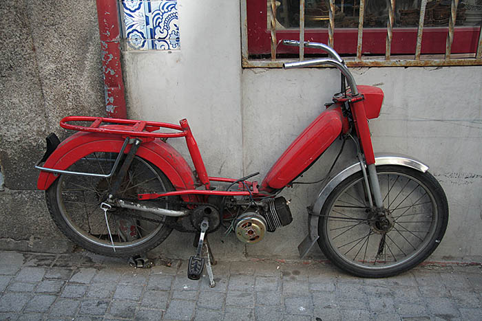 red vintage motorcycle