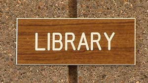brown library sign