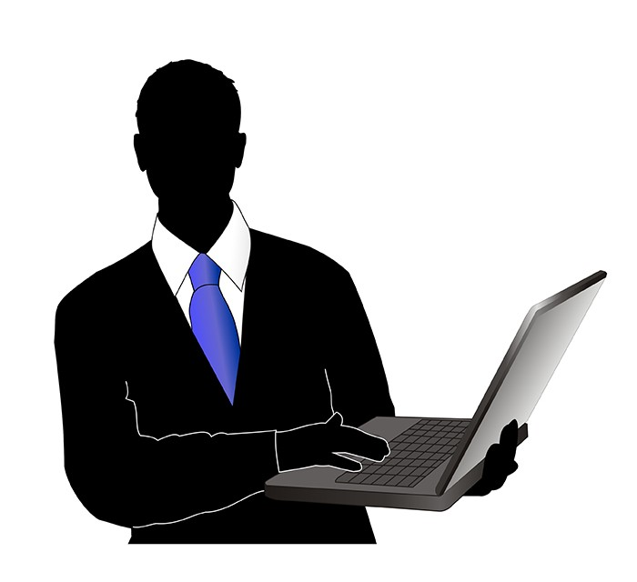illustration man in suit holding computer