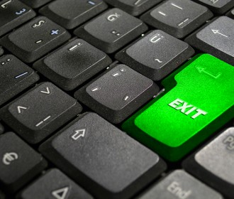 keyboard with a green exit key