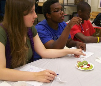 picture of teens at food event