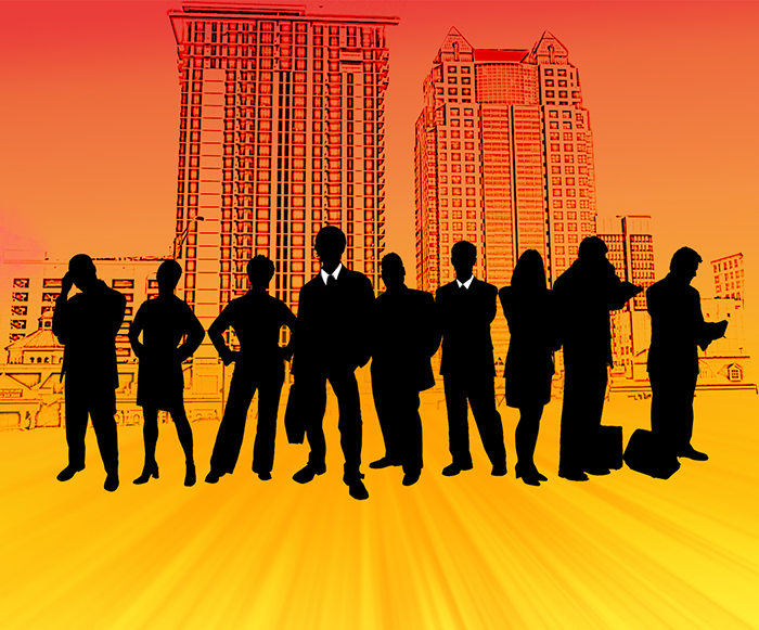 silhouette of group of white collar workers