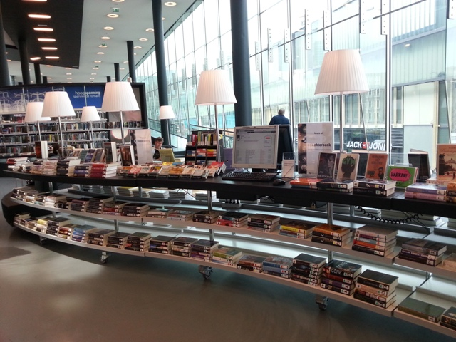 Retail style displays at Almere Public Library