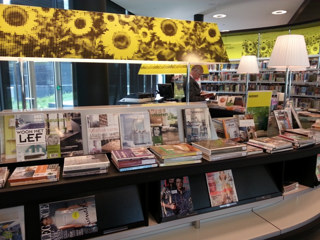 Bookshelves at the Almere Library