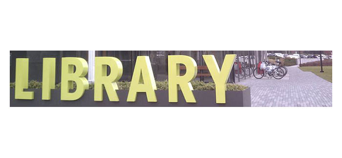 Vancouver Washington Library with Sign