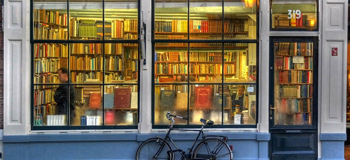 book store with bike
