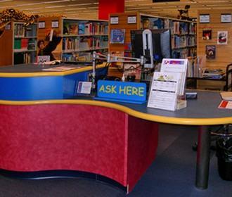 information desk at library