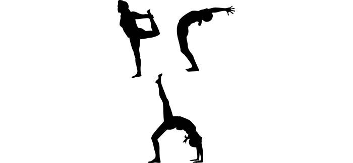 silhouettes of yoga poses