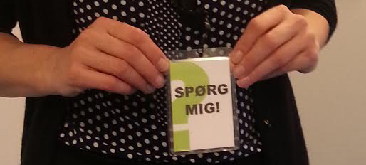 "The ""Ask Me!"" staff tag at Tårnby Main Library"