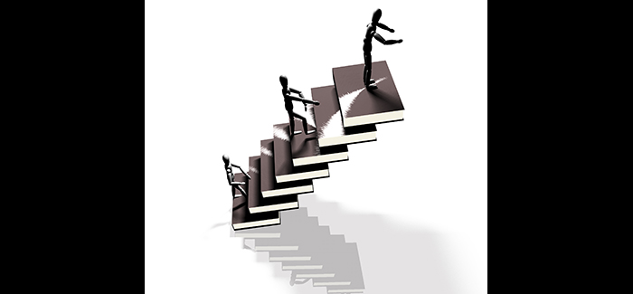 Figure Ascending a Book Staircase