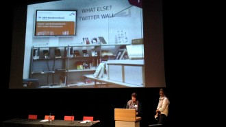 "Vera Binz and Sarah Dudek presenting the ""Themenraum"""