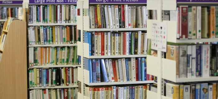 library with fiction books