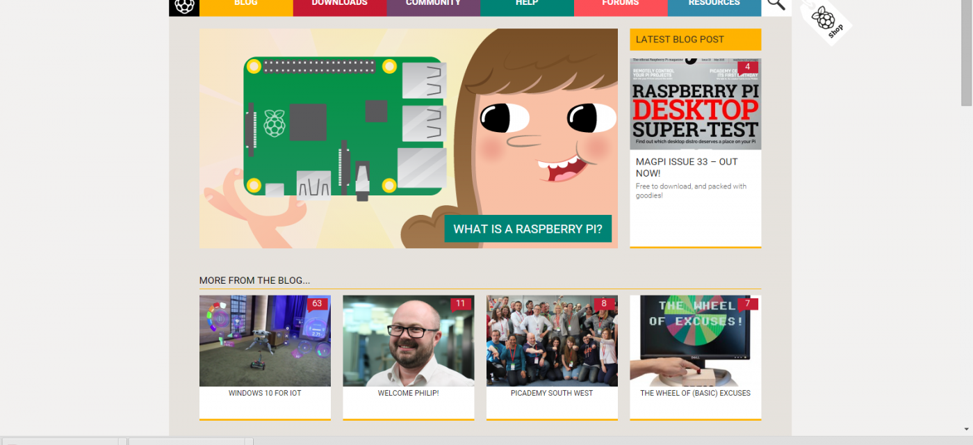 screen shot of raspberry pi home page