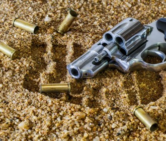 gun with empty bullet shells
