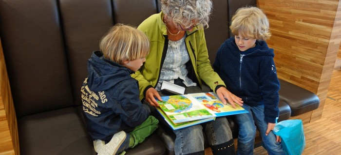 granny reading with kids