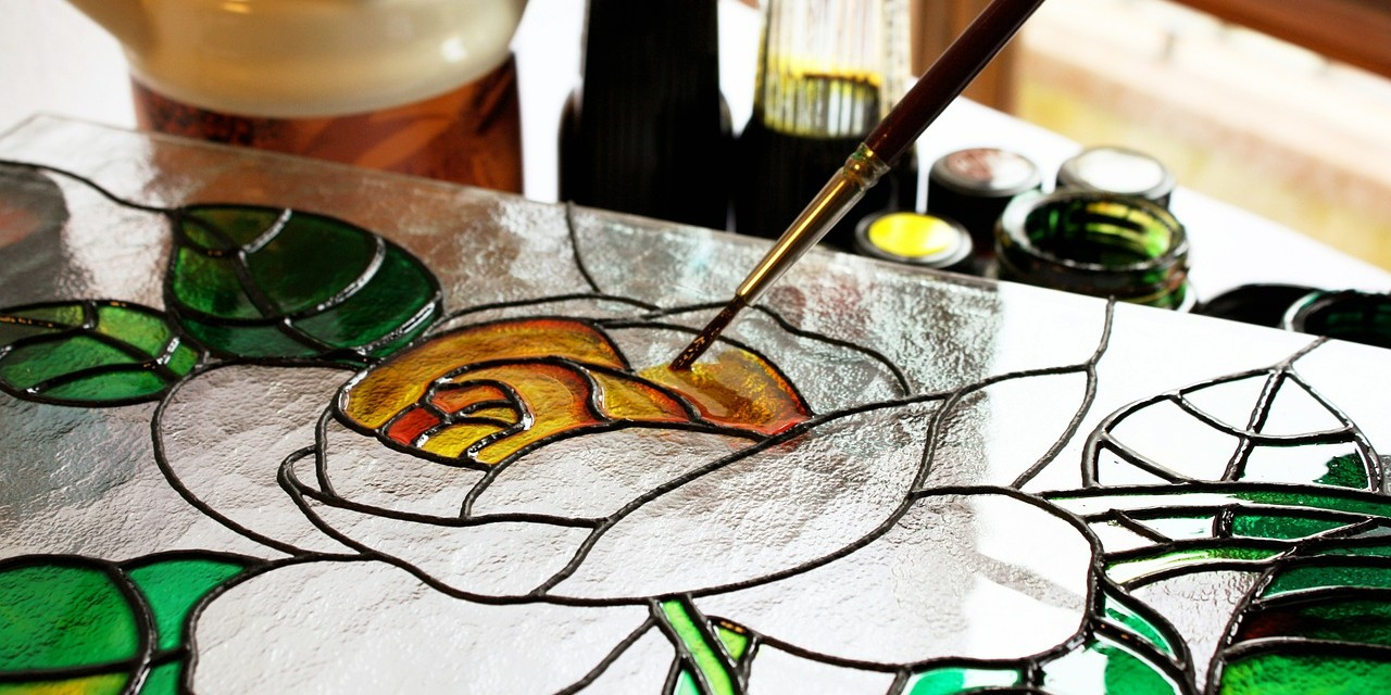 painting on stain glass rose