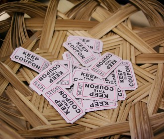 raffle tickets in a basket