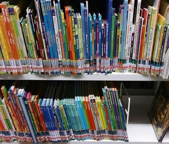 children's books at a library