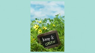little sign in the grass that says keep it green