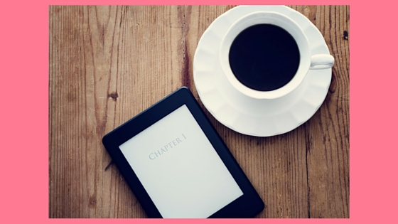 ebook reader and cup of coffee