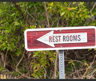 Rest Rooms Sign with Arrow