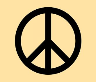 black peace sign on yellow background