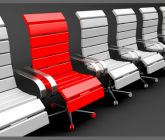 a row of white office chairs with one red chair