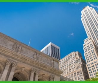 new york public library and skyscrapers in background