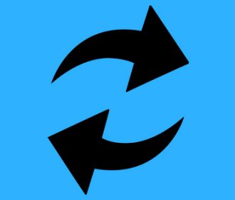 user experience logo black arrows on blue background