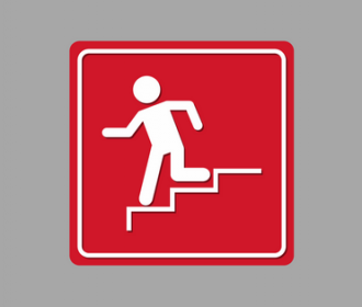 image of emergency route red back ground white stick figure running down stairs