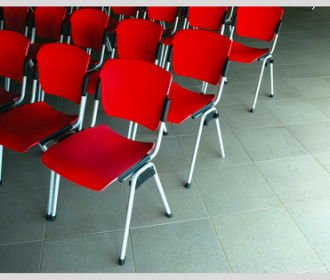 red chairs in a conference room