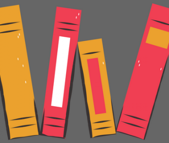 illustration of gold and red books