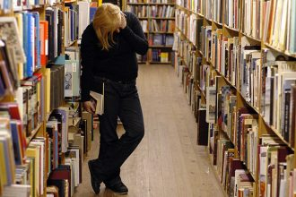 woman browses library