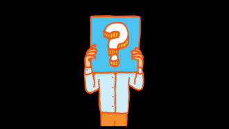 illustration of person holding a sign with a question mark - face is obscured by sign