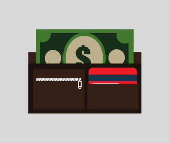 illustration of wallet with money and payment cards