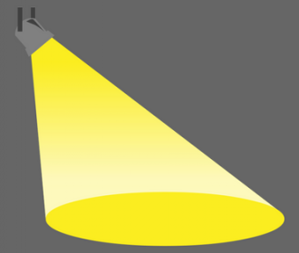 illustration of yellow spotlight on gray background
