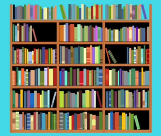 Illustration of a book shelf