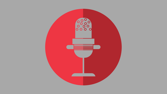 illustration of gray microphone on red background