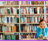 woman with book in front of book shelves