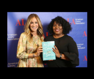 Sarah Jessica Parker and Stephanie Powell Watts holding a copy of Watts' book