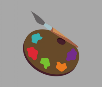 illustration of painting palette with paint brush
