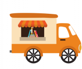 illustration of food truck type vehicle with books in window