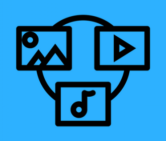 music, video, picture images (to represent media)