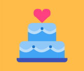 illustration of wedding cake with heart on top