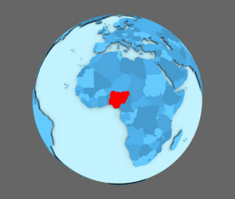 blue globe with Nigeria outlined in red
