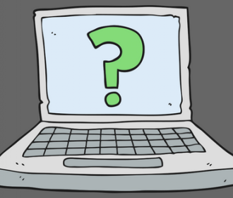 illustration of a desk top computer with a question mark on the screen