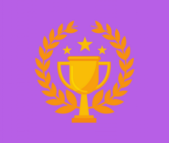 image of a trophy and laurel wreaths