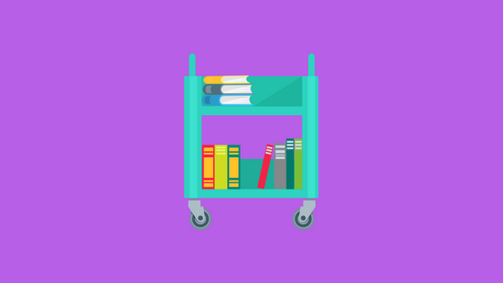 illustration of books on a cart